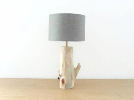 lampe bois flotté abat-jour rond gris cylindre