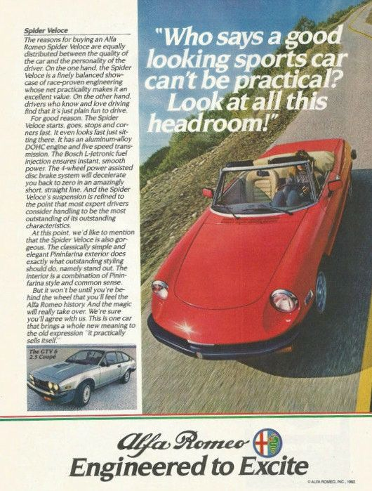 "An original 1983 advertisement for the Alfa Romeo Spider Veloce. Photo print details a red convertible car driving fast downhill. ""Who says a good looking sports car can't be practical? Look at all th"