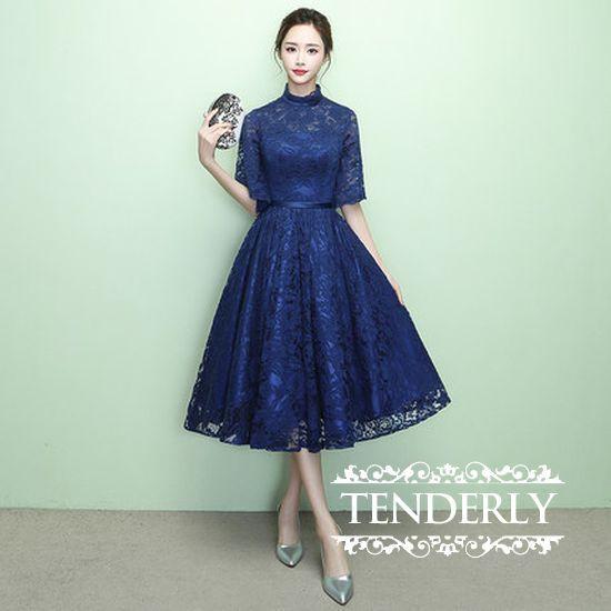 【即納】結婚式にオススメ 総レースミモレ丈フレア半袖ワンピース - 韓国プチプラパーティードレス通販『TENDERLY DRESS』結婚式二次会お呼ばれ