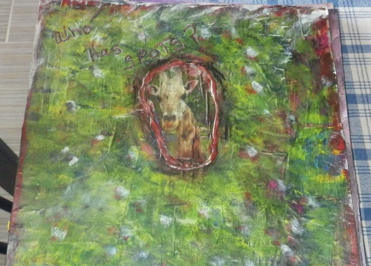 Background collage, paint,ink on 12 x 12 cardstock By Julie Hamel