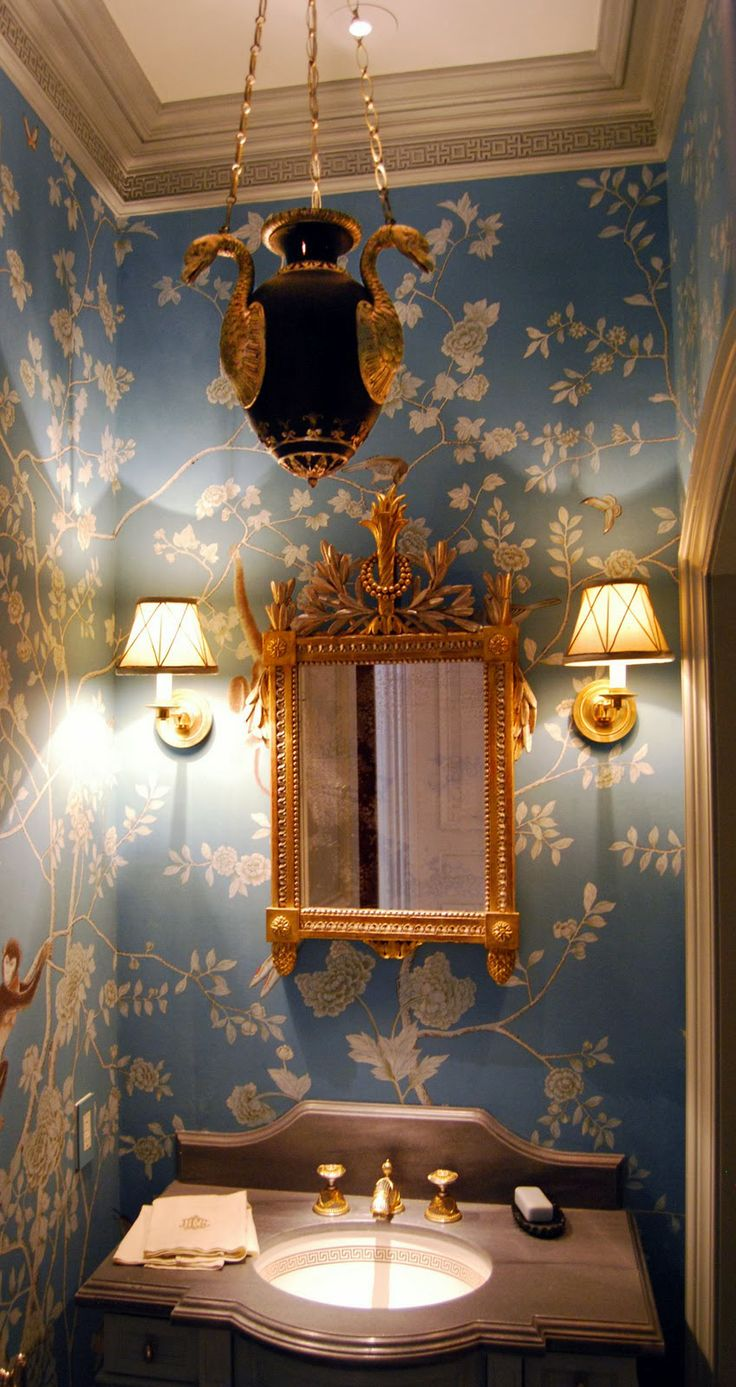 White and blue powder room features walls clad in trim molding framing - Find This Pin And More On Powder Room Style
