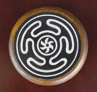 hecate's wheel  wicca  represents the three aspects of the Goddess -- Maiden, Mother and Crone. This labyrinth-like symbol has origins in Greek legend, where Hecate was known as a guardian of the crossroads before she evolved into a goddess of magic and sorcery.