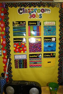 I love that this teacher used Velcro on her job chart. I have this job chart,will be adding Velcro