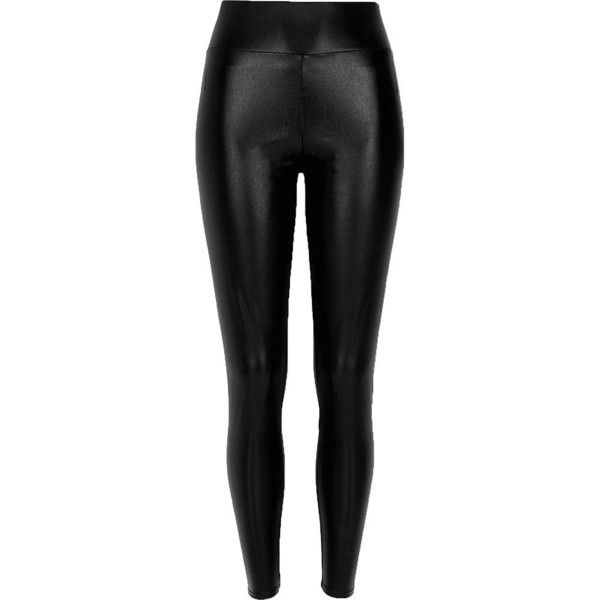 River Island Black pearlescent high waisted leggings found on Polyvore featuring pants, leggings, bottoms, calças, black, women, tall leggings, tall pants, high rise leggings and black pants