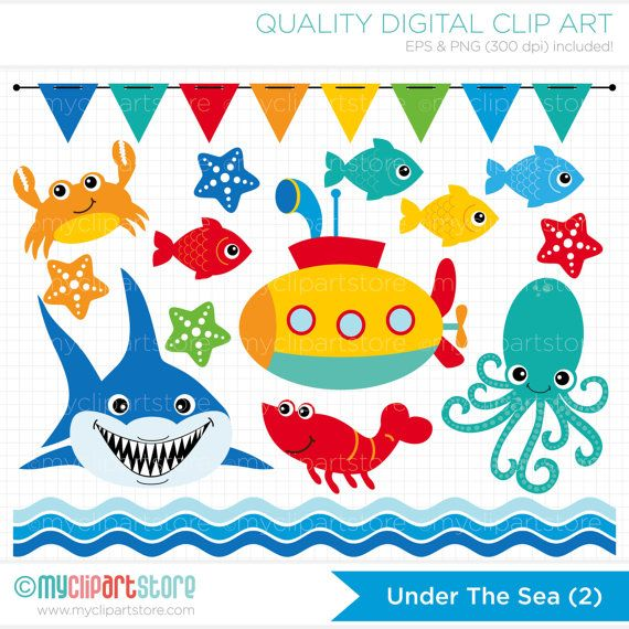This UNDER THE SEA #2 clipart set includes a shark, starfish, fish swimming in the sea, ocean waves, submarine, crab, lobster, bunting flags and a