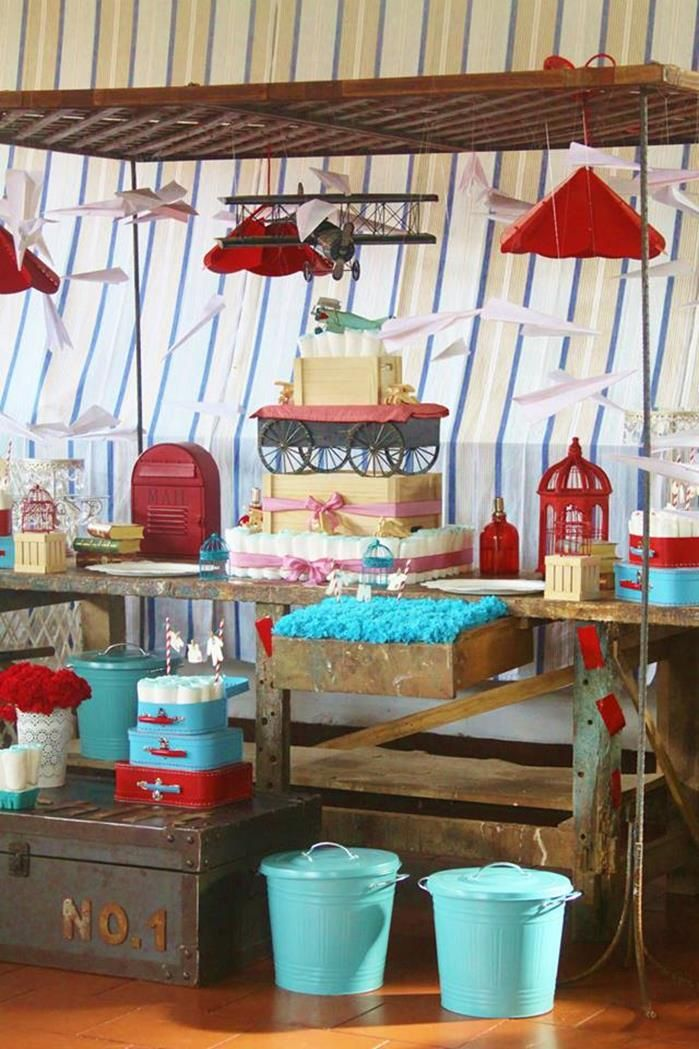 197 best images about party planes on pinterest for Airplane baby shower decoration ideas