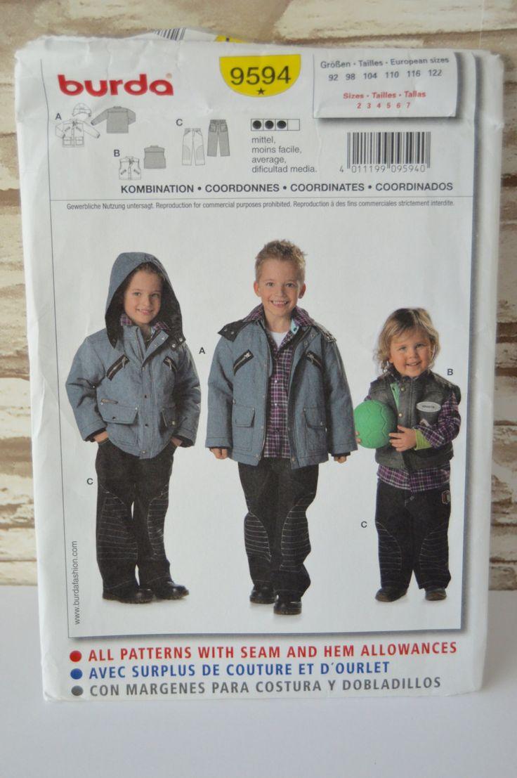 Childrens Winter Coats, Vest, & Pants - Burda 9594 Pattern - UNCUT - Sizes 2 thru 7 by Boxtreasures on Etsy