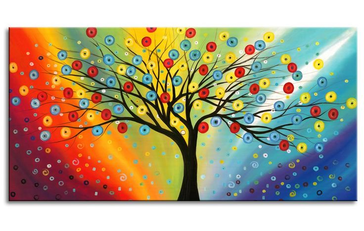 Extra Large Canvas Painting Wall Art with 1 1/5 Inch Thickness Frame Ready to Hang - Sunset Blossom Tree Colorful Sky Abstract Painting Contemporary Pictures for Living Room Bedroom Decoration