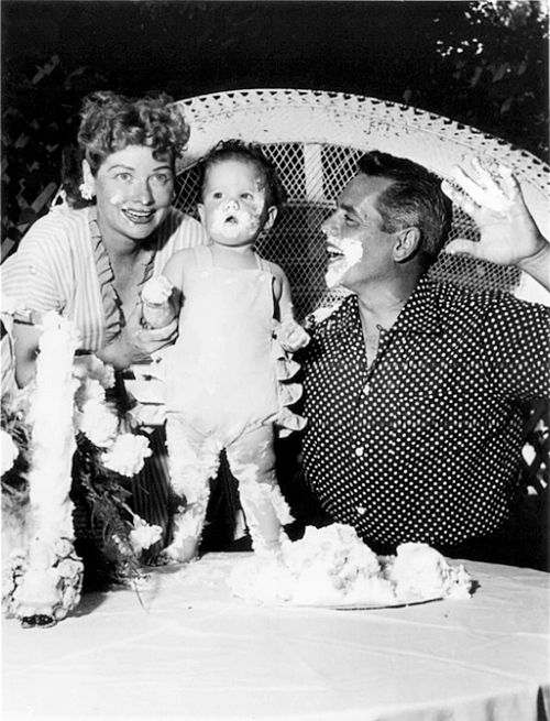 Lucy and Desi with daughter Lucie on her first Birthday (July 17, 1952)