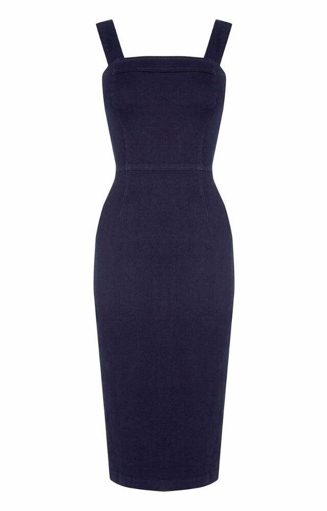 323c60d0f79d #DenimDress New OASIS Womens Ladies Navy denim Pinafore pencil skirt midi  dress size 8 - Denim Dress $16.85 (0 Bids) End Date: Monday F… | Denim Dress  in ...