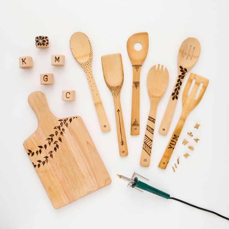 Personalize a cutting board and wooden spoons with a wood burning tool.