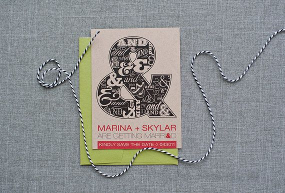Ampersand Wedding Save the Date Card  Modern Wedding    by Invited by LamaWorks - Every invitation deserves to be custom www.lamaworks.etsy.com