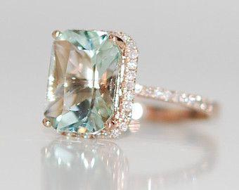 2.67ct Seafoam blue green Aquamarine halo diamond ring emerald cut 14k rose gold engagement ring. *i don't like rose gold but the rest I like