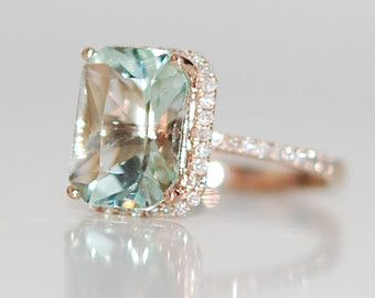 2.67ct Seafoam blue green Aquamarine halo diamond ring emerald cut 14k rose