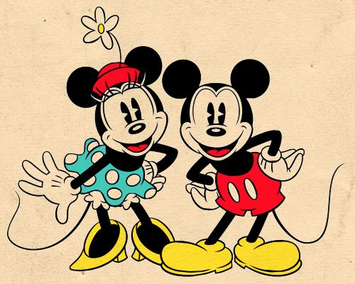 Com tanto Mickey por aí ela corre atrás do Pateta. |  Mickey and Minnie