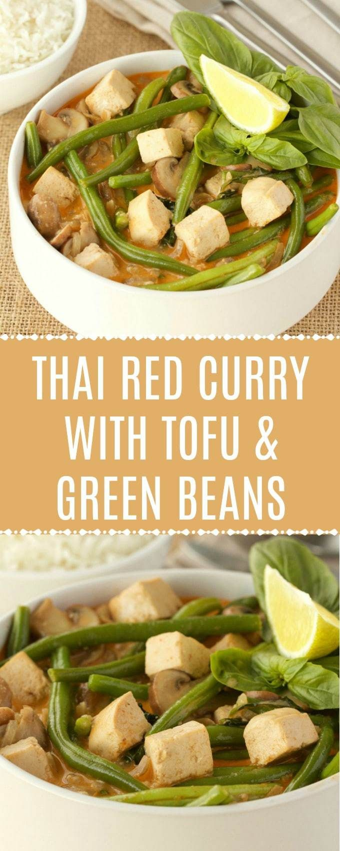 Rich And Mildly Spicy Thai Red Curry With Tofu And Green