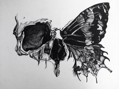 In love with the geometric style of the skull and the beauty of butterfly. Serious contender for the next artwork on my body.