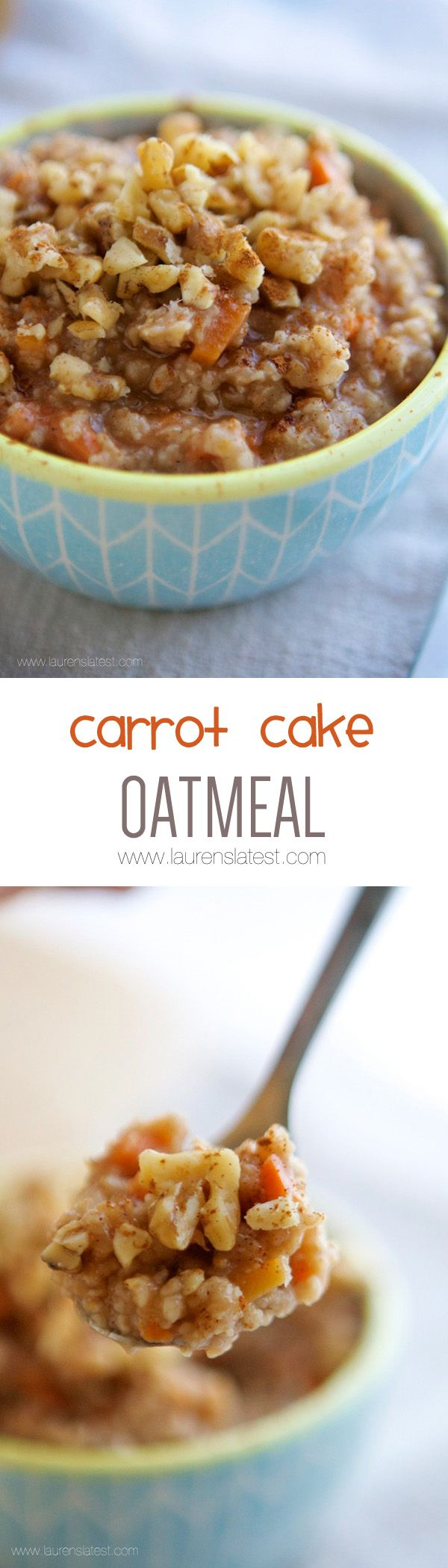 Carrot Cake Oatmeal... Start the day off with this nutritious bowl of goodness!