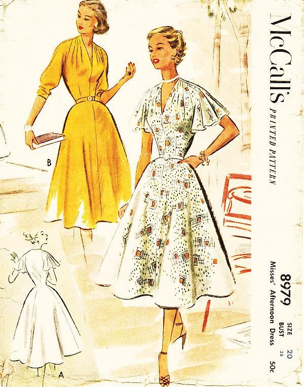 """Vintage 1950s Dress Sewing Pattern - McCall's 8979 - Misses' Fit and Flare Dress with Draped Neckline in 2 Variations - Sz 20/Bust 38"""" by ThePatternSource on Etsy https://www.etsy.com/listing/234145391/vintage-1950s-dress-sewing-pattern"""