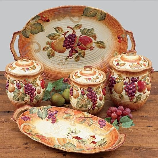 Tuscan Dinnerware Sets | Siena Kitchen Canister Set of 3 - Certified International Dinnerware . & 36 best Dinnerware style images on Pinterest | Dish sets Place ...