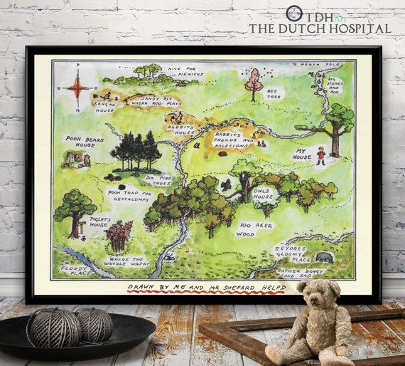100 Aker Wood – Winnie The Pooh Map –The Hundred Acre Wood–Winnie The Pooh Wall Art–Pooh bear print– Art Giclee