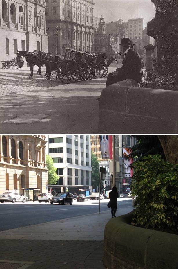 Cabbies, Bridge Street, Sydney 1904 > 2016. [Art Gallery of NSW > Marwin Elkoj. By Marwin Elkoj]