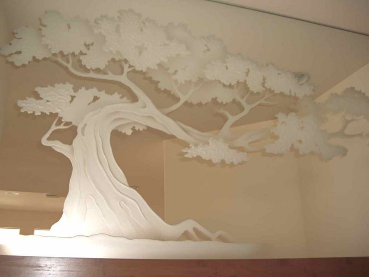 Bonsai Tree Decorative Mirror With Etched, Carved Design Bathroom