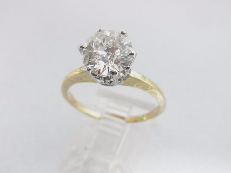 GIA  Certified 2.15 J VVS2 Diamond Engagement Ring Old Euro  #Solitaire