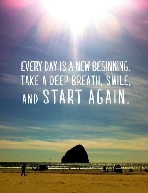 Every day is a new beginning. Take a deep breath, smile, and start again!