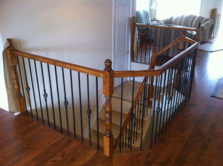 Best Wood Rail With Detail Metal Spindles Stairs Railings 640 x 480