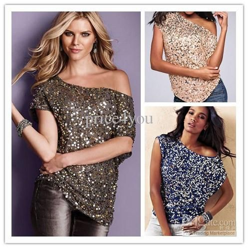 2016 New Women Club Shirt Off Shoulder Sparking Sequin Trim Tank Top Short Batwing Sleeve Party T Shirt 25078 Cheap Price Metal T Shirts Cotton Shirt From Price4you, $16.24  Dhgate.Com