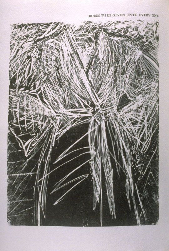 """""""Robes Were Given Unto Everyone,"""" illustration in the book The Apocalypse/The Revelation of Saint John The Divine/The Last Book of the New Testament from the King James Version of the Bible, 1611, with Twenty-nine Prints from Woodblocks Cut by Jim Dine. ("""
