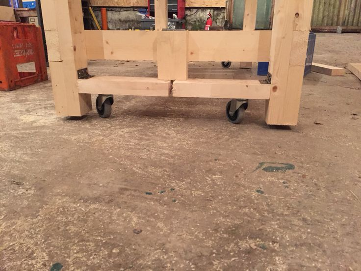 Workbench wheels in the down position