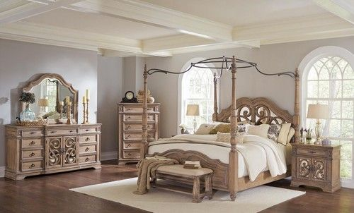 Ilana Antique Linen Queen Size Canopy Bedroom Set 205071Q (chest sold separately)