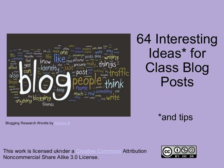 64-interesting-ideas-for-class-blog-posts by mrholdsworth via Slideshare