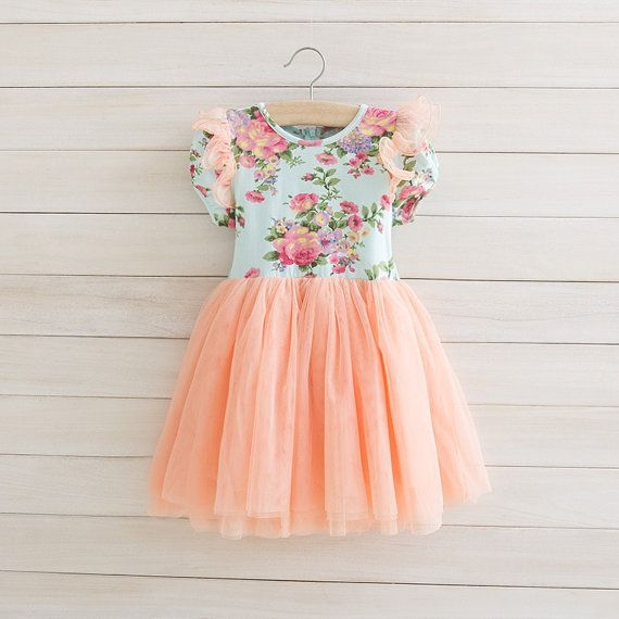 Peach Aqua Toddler Girls Tutu Dress, Vintage Toddler Girl Dress, Flower Girl Dress, Easter Dress Outfit, Birthday Dress,Rustic Beach Wedding...