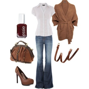 The flares take me back... love the brown.Shoes, Fashion, Style, Clothing, Closets, Fall Outfits, Brown, Wear, White Tops