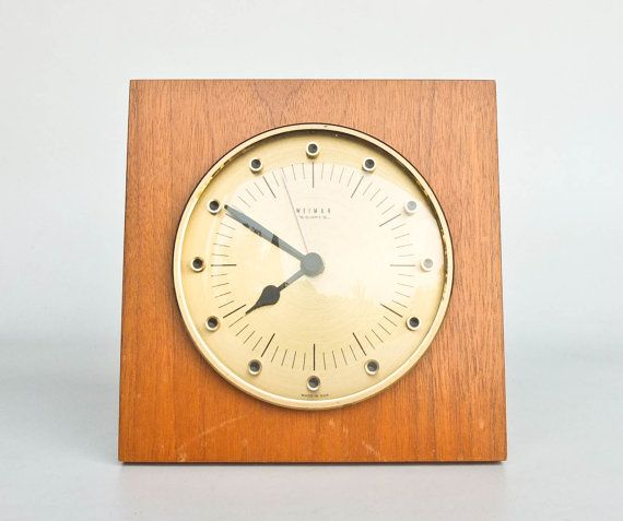 beautiful vintage wall clock with wooden base brass numeric face and glass cover made in