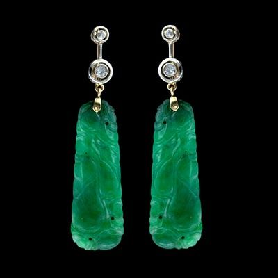 Nice: Diamonds Earrings, Hands Carvings, Art Nouveau, Green Jade, Chinese Jade Jewelry, Gem, Jade Earrings, Beautiful Jade Jewelry, Bling Bling