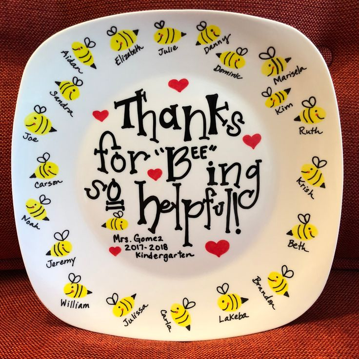 """Thanks for """"Bee-ing"""" so helpful! Teacher Gift Plate – Handcrafted Decorative Personalized Keepsake Customized Teacher Gift"""