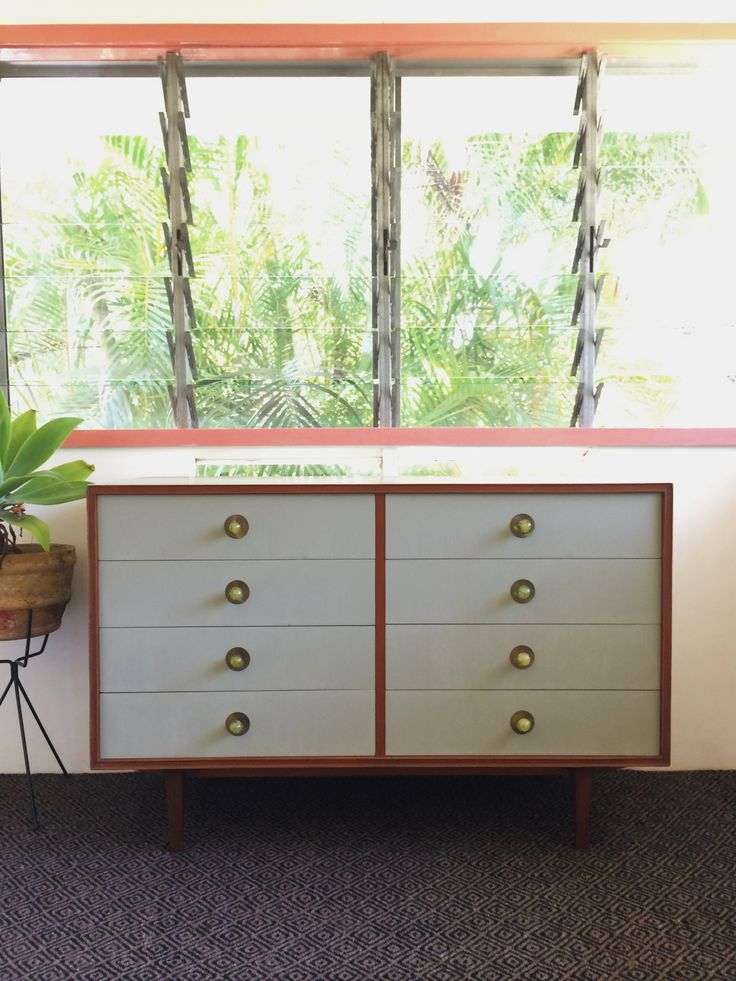 SOLD  Mid century modern sideboard painted in Chateau grey Chalk Paint by Annie Sloan @attic.furniture.qld