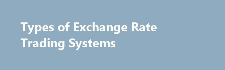 Types of exchange rate in forex