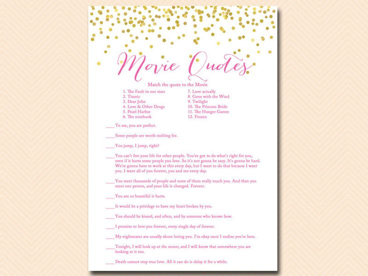 movie quote movie quiz famous love quote game movie game Gold Confetti Bridal Shower Hot Pink Wedding Shower Games modern BS63 (3.00 USD) by MagicalPrintable