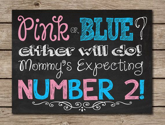 Printable Chalkboard Pregnancy Announcement Sign Digital File Pink or Blue Mommy's Expecting Number 2 - Baby Announcement Photoshoot Prop on Etsy, $8.00