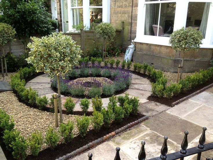 Beautiful no grass, formal front yard garden design with lavender, box and standard euonymus.