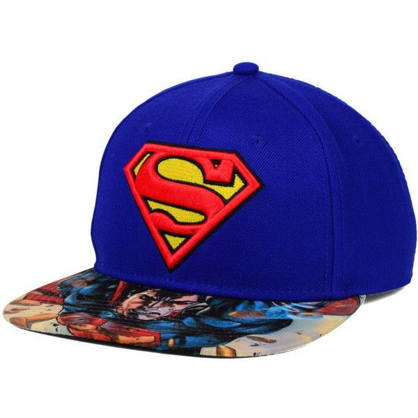 DC Comics Superman Printed Visor Snapback Hat ($28) ❤ liked on Polyvore featuring accessories, hats, snapback hats, visor hats, sun visor, sun visor hat and snap back hats