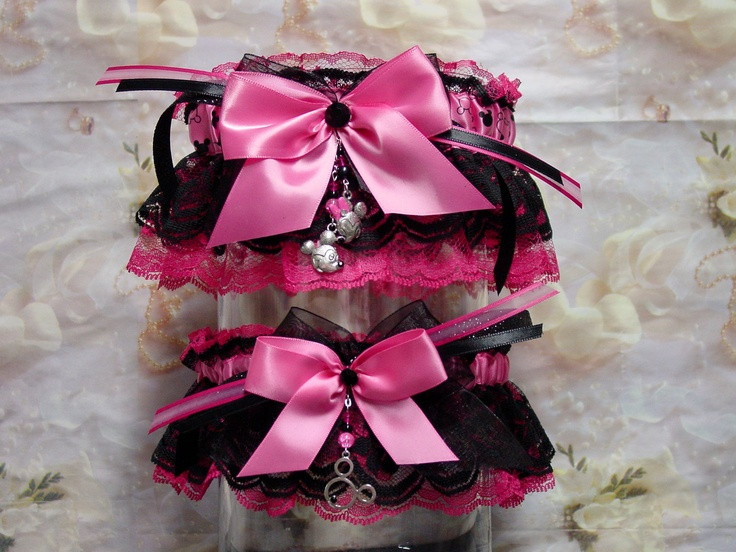 Disney Mickey Minnie Mouse Hot Pink And Black Wedding Garter