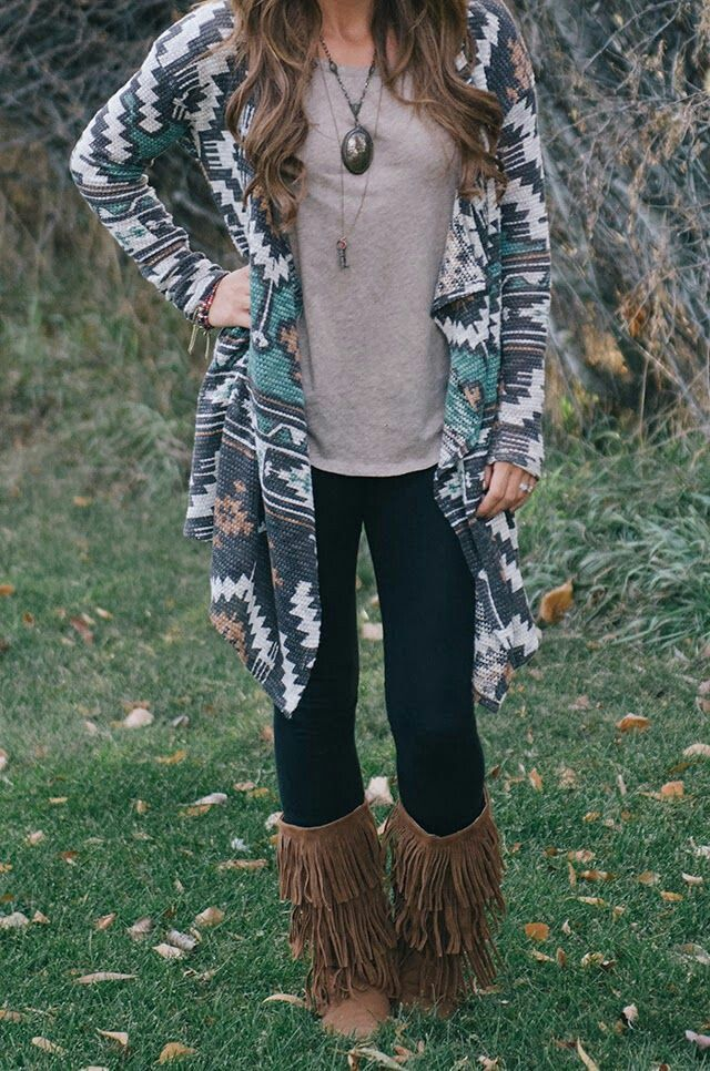 Aztec cardigan and moccasins