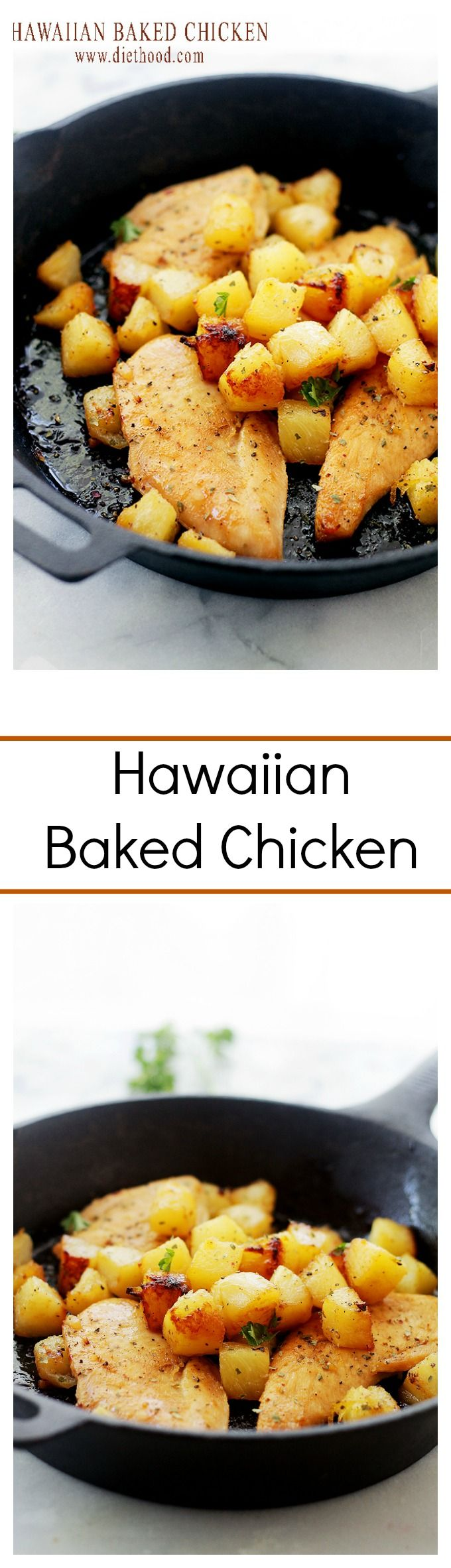 Hawaiian Baked Chicken - Marinaded in a garlicky-pineapple juice mixture, this is the most flavorful chicken you will ever make!