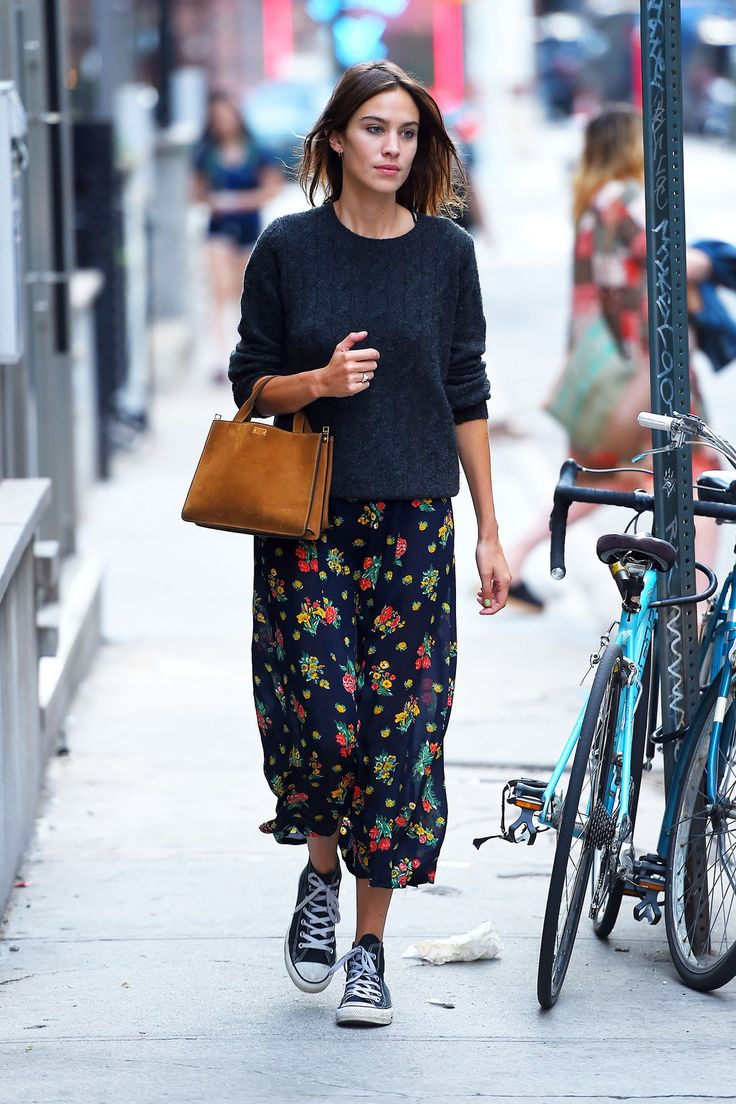 Alexa Chung - jumper, flower dress & converse. NYC, August 2015